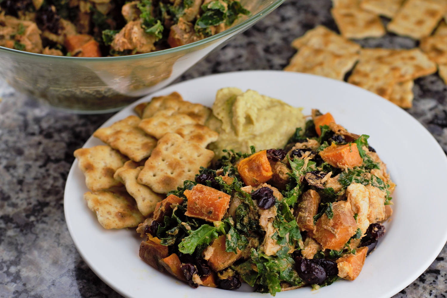 Kale Salad With Chicken And Sweet Potato Recipe — Dishmaps