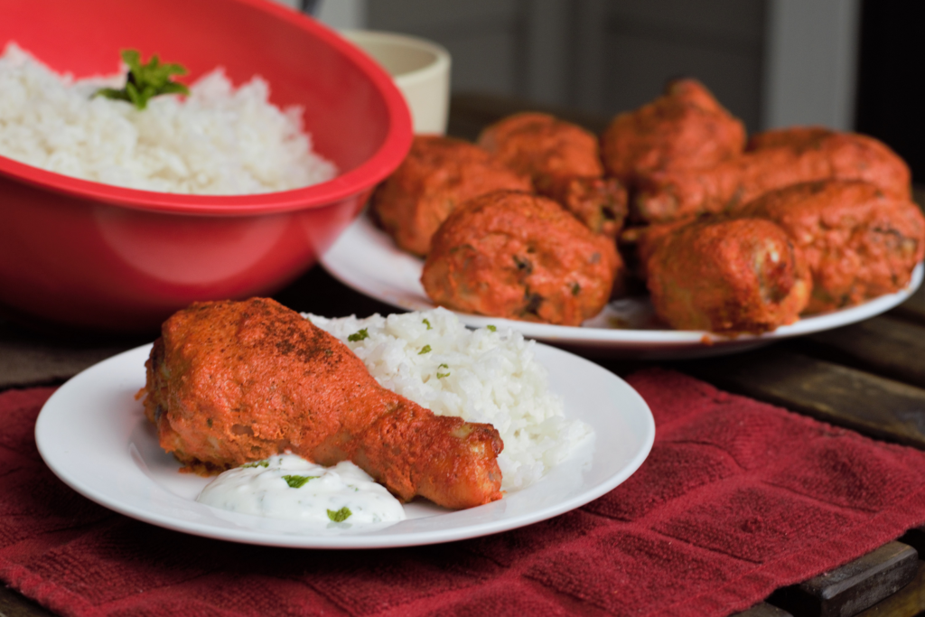 Baked Tandoori Drumsticks with Coconut Rice