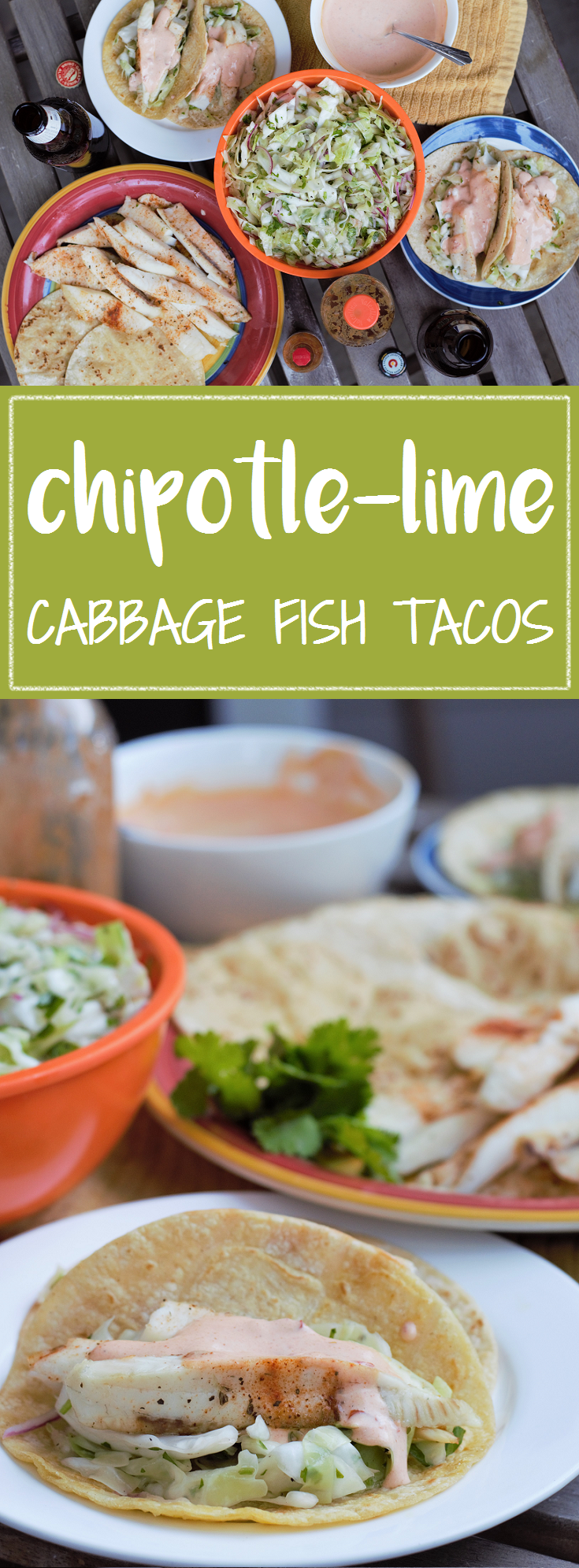 Chipotle-Lime Cabbage Fish Tacos - Mountain Cravings