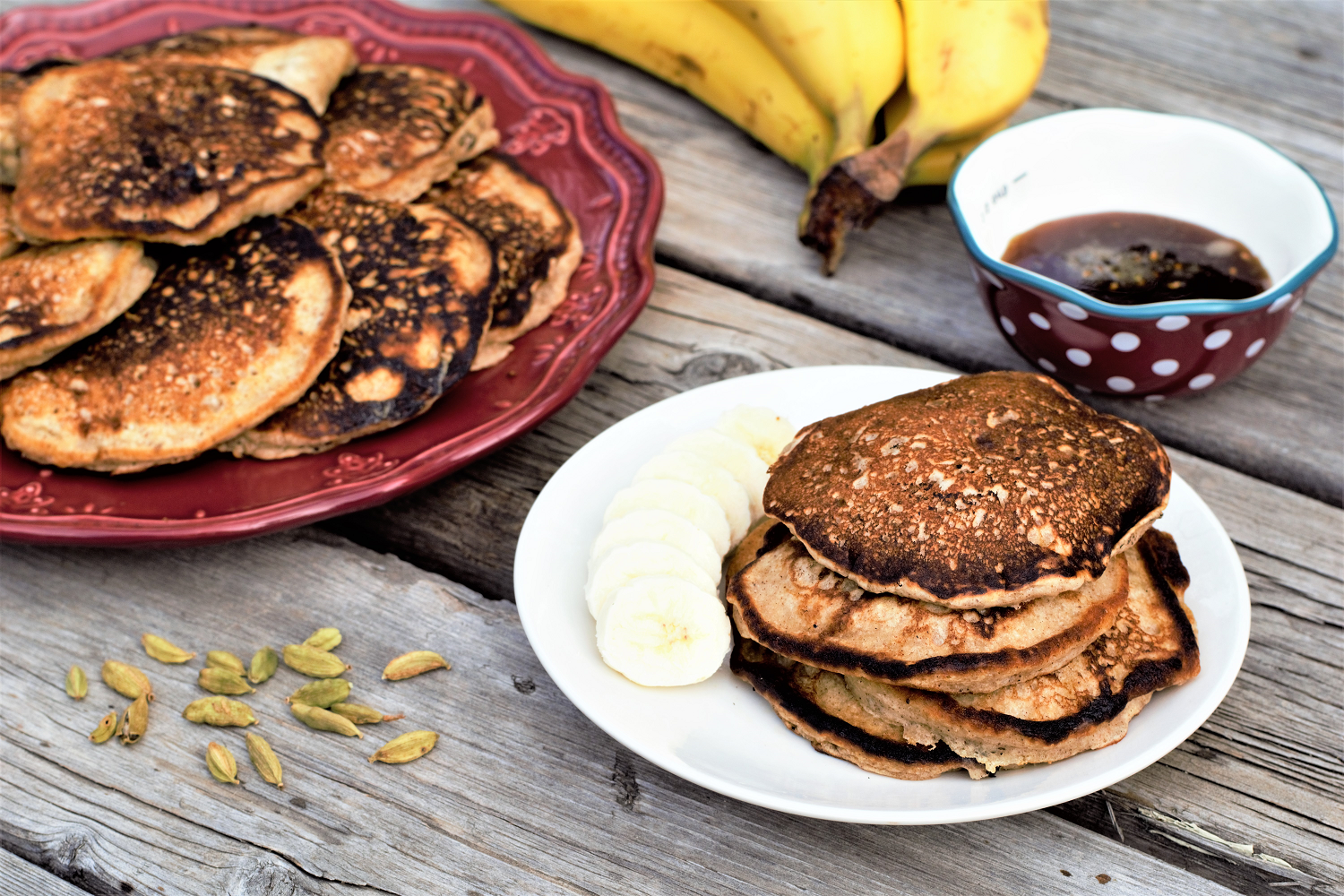 Spiced Banana Pancakes with Cardamom Honey Syrup | Mountain Cravings