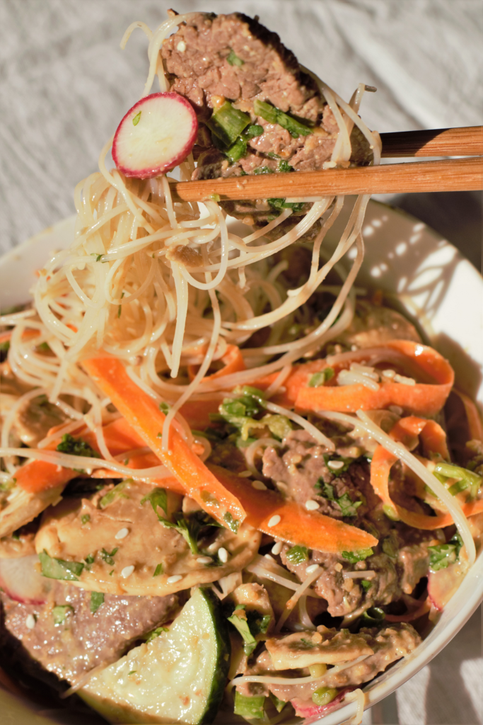 Thai Beef Noodle Salad with Spicy Peanut Sauce | Mountain Cravings